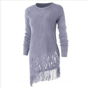 Sweaters - FRINGED Gray Asymmetrical hem pullover sweater